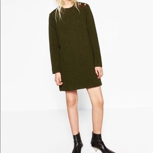 Zara Dark Green Military Knit Dress, Medium